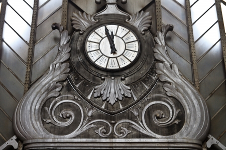 Vintage clock in Atocha Station, Madrid photo