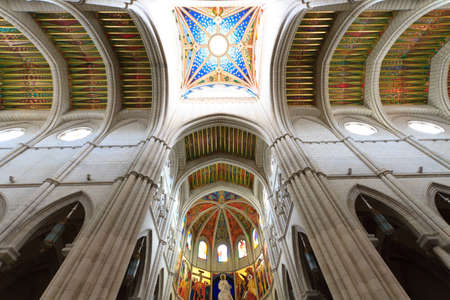 Interior view of Almudena cathedral, Madrid, Spain photo