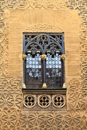 segovia: Arab floral wall decoration and window, Segovia; Spain Editorial