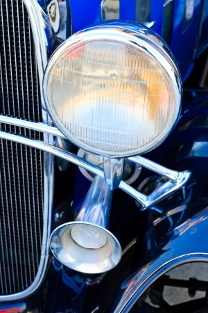 Oldtimer Details  Head Light and signal horn  Stock Photo - 13686939