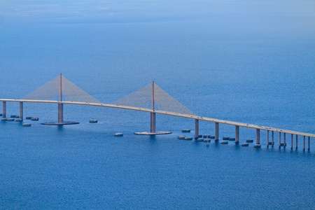 Aerial View of Sunshine skyway bridge, Florida (near St. Petersburg) photo