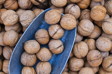 Close up of walnuts on market stand photo