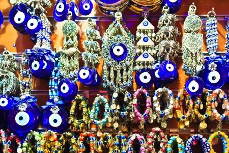 kapalicarsi: Istanbul Grand Bazaar - Turkish Blue Eyes of Fatma (Nazar) Stock Photo
