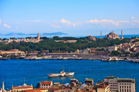 Istanbul Golden Horn View with Topkapi Palace and Hagia Sophia, Turkey Stock Photo