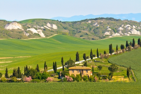 siena italy: Typical Tuscany landscape view with villa (Crete Senesi region near Siena)
