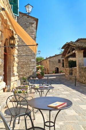 chianti: Bagno Vignoni Cafe   Street Scene, Tuscany, Italy Stock Photo