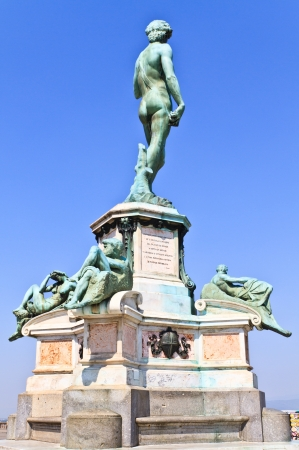 Statue of David from behind at Piazza Michelangelo, Florence, Italy photo