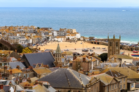 south west england: Seaside Village of St  Ives, Cornwall, UK  Roof top view of the harbor Stock Photo