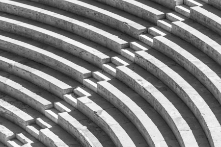 amphitheater: Stairs forming a high contrast black and white pattern