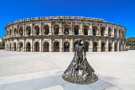 fight arena: Details of Ancient Roman Amphitheater in Nimes, France
