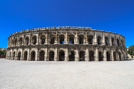 amphitheater: Details of Ancient Roman Amphitheater in Nimes, France