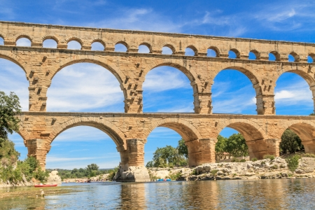 ancient rome: Pont du Gard is an old Roman aqueduct near Nimes in Southern France