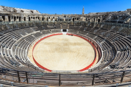 corrida: Bull Fighting Arena in Nimes, Roman Amphitheater, France Stock Photo
