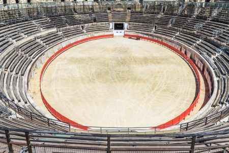 fight arena: Bull Fighting Arena in Nimes, Roman Amphitheater, France Stock Photo
