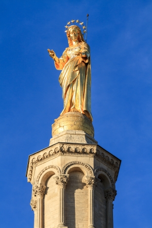 Avignon - Holy Mary Statue - Notre Dames des Domes Church near Papal Palace, Provence, France photo