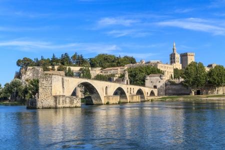avignon: Avignon Bridge and Popes Palace, Pont Saint-Bnezet, Provence, France Stock Photo