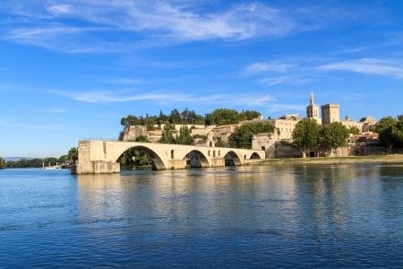 Avignon Bridge and Popes Palace, Pont Saint-Bnezet, Provence, France Stock Photo