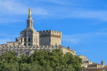 avignon: Avignon, View on Popes Palace and church Notre Dames des Domes, Provence, France