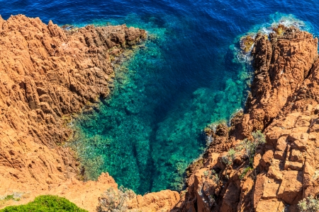 azur: Beautiful Scenic Coastline on the French Riviera near Cannes, France