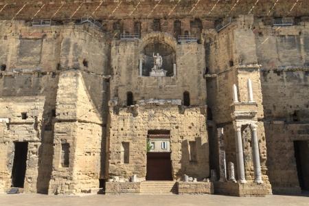 teatro antiguo: Detalles del teatro romano de Orange, el sur de Francia