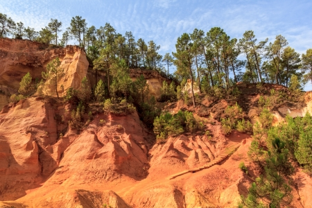 ocher: Red Cliffs in Roussillon (Les Ocres), Provence, France