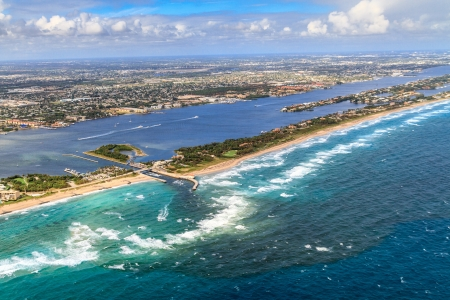 Aerial View on Florida Beach and waterway near Palm Beach photo