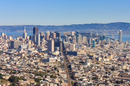 pyramid peak: San Francisco Downtown seen from Twin Peaks Stock Photo