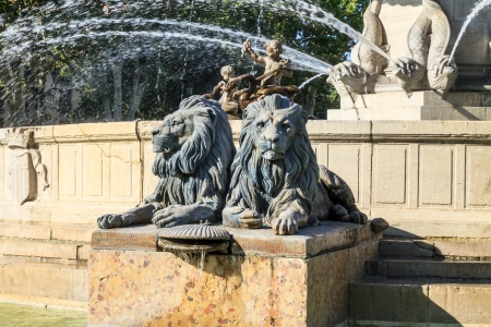 Lion Statues of Fountain at La Rotonde, Aix-en-Provence, Provence, France Stock Photo - 17191609