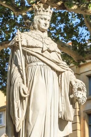 anjou: Estatua del rey Ren� de Anjou, Aix-en-Provence, Francia