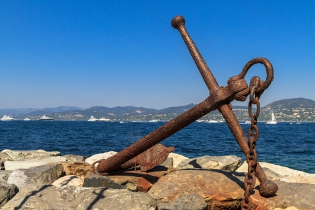 tropez: Rusted Anchor Monument, St. Tropez, France Stock Photo