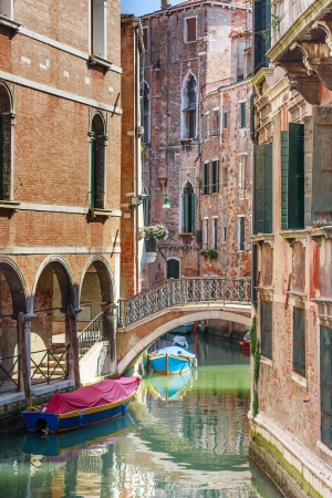 Romantic canal and bridge in center of Venice, Italy (no people) Stock Photo - 17501060
