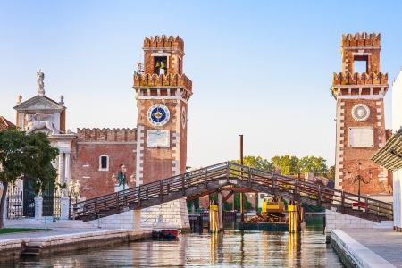 Venice, Arsenale historic shipyard, Gate and Canal View Stock Photo - 17507041