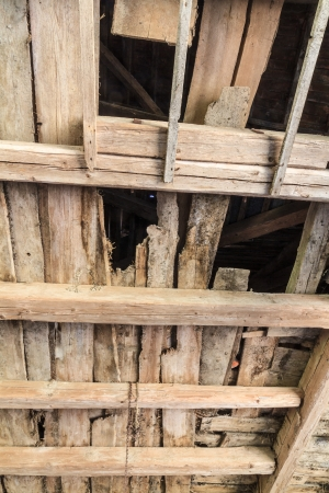 Ruined wooden ceiling in an old farm house Stock Photo - 17501149
