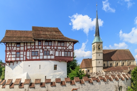 oswald: Zug Castle and St. Oswald Church in the city of Zug, Switzerland Stock Photo