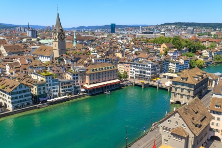 grossmunster cathedral: Zurich Cityscape (aerial view from elevated position)