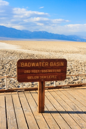 valley below: Badwater Basin is the the lowest point in North America, Death Valley National Park, California, USA