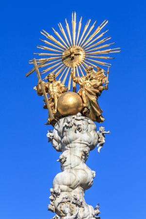 hauptplatz: Famous Baroque Trinity  Plague Column on Linz main square (Hauptplatz), Austria Stock Photo