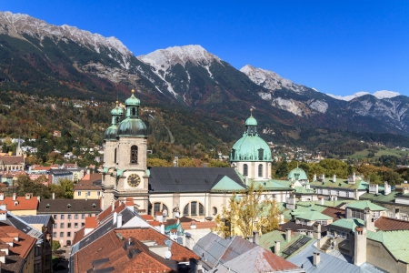 Innsbruck, view over city with cathedral of St. Jacob, Tyrol, Austria. Stock Photo - 17501147