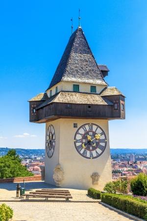 clocktower: Famous Clock Tower (Uhrturm) in Graz, Styria, Austria