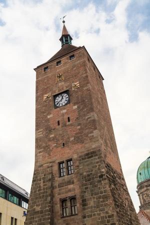 gabled house: Nuremberg, Medieval White Tower Gate, Bavaria, Germany