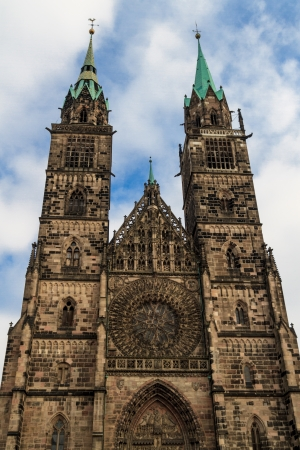 nuremberg: Gothic facade of St Lawrence Church, Nuremberg, Germany