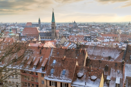 nuremberg: Nurember City View during time of famous Christmas market in winter Stock Photo