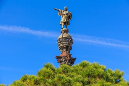 christopher columbus: Top of Columbus Monument, Barcelona, Spain Stock Photo