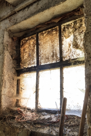 mucky: Old window with stains and cobwebs