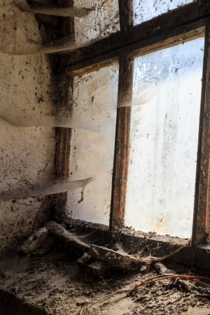 dingy: Old window with stains and cobwebs