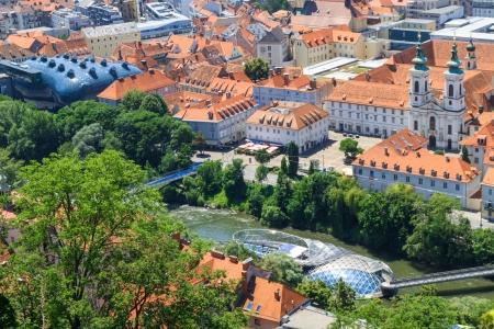 steiermark: Graz, Aerial view of city center, Austria