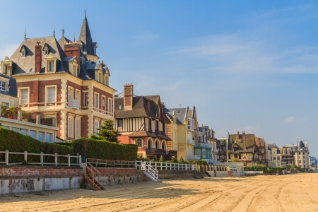 Trouville sur Mer beach promenade, Normandy, France Stock Photo