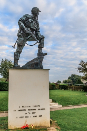 commemorating: Iron Mike Statue commemorating US airborne soldiers during Normandy Invasion, France