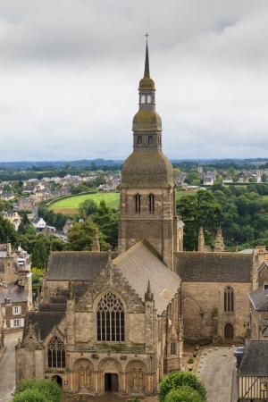 dinan: View on cathedral of Dinan, Brittany, France