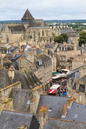 Dinan old town panoramic view, Brittany, France photo